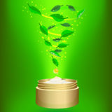 Phyto cream on green background Royalty Free Stock Photography