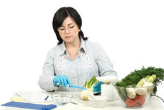 Phytocontrol technician intending to cut a fennel Stock Image