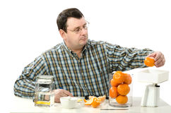 Phytocontrol technician weighing mandarine Royalty Free Stock Images