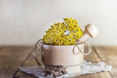Phytotherapy, collecting medicinal herbs for tea and mixtures. Dried tansy flowers in a wooden mortar with pestle on a rustic royalty free stock photography