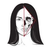 Piękna brunetka z przyrodnia ręka rysującą czaszki twarzy czarny i biały kreskową sztuką i kropka pracujemy Błyskowy tatuażu, pla ilustracji