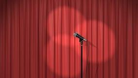Piękna Czerwona zasłona z światło reflektorów i mikrofon na scenie, Bezszwowa Zapętlająca 3d animacja 4K zbiory wideo