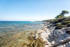 Piękna sceneria przegapia morze Grecja Sithonia trevel jacht kekova morze śródziemnomorskie zdjęcia royalty free