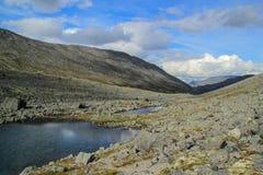 Piękna zimna północna natura: góry, skały, skały i jezioro otaczający, drzewami i mech Khibiny góry w rosjaninie zdjęcie royalty free