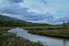 Piękna zimna północna natura: góry, skały, skały i jezioro otaczający, drzewami i mech Khibiny góry w rosjaninie obrazy royalty free