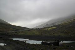 Piękna zimna północna natura: góry, skały, skały i jezioro otaczający, drzewami i mech Khibiny góry w rosjaninie zdjęcia stock
