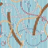 Piękny Bezszwowy wzoru srebra łańcuch, pasek i lato arkany na lato lampasie w, wektorowy unikalny i Modnym ilustracji