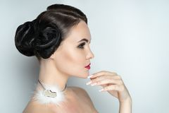 Piękny fryzury makeup manicure zdjęcia stock