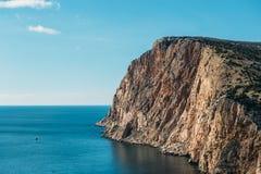 Piękny Krymski skalisty wybrzeże z, lato natury krajobraz dla podróży, odpoczynek, i zdjęcia stock