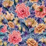 Piękny kwiecisty tło z kolorowymi altówka kwiatami, liśćmi i botaniczny deseniowy bezszwowy adobe korekcj wysokiego obrazu photos fotografia stock