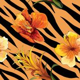 Piękny kwitnienie kwiat na zwierzęcej skórze Tygrysi bezszwowy deseniowy wektorowy druk ilustracja wektor