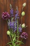 Piękny lato bukiet, wildflowers, dzikie cebule, Veronica długolistny fiołek na drewnianym tle czarny orzech włoski zdjęcia stock