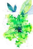 Piękny motyli lata nad abstrakcjonistycznym zielonym kwiatem Akwareli ilustracja odizolowywająca na białym tle royalty ilustracja