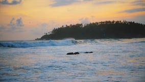 Piękny tło strzał idylliczny złoty zmierzch przy zadziwiającą oceanu kurortu plażową i palmową wyspą z foamy białymi falami zbiory