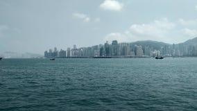 Piękny widok WanChai od Kowloon, Hong Kong obrazy royalty free