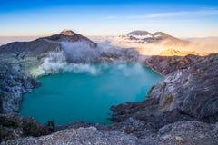 Piękny wschód słońca krajobrazowy widok Kawah Ijen wulkan jeden najwięcej sławnej atrakcji turystycznej w Indonezja obraz royalty free