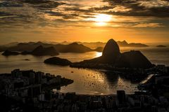 Piękny wschód słońca w Rio De Janeiro obraz stock