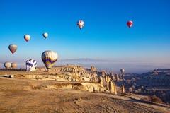 Piękny wschód słońca widok od balonu przy Cappadocia, Turcja obraz stock