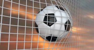 Piłki nożnej lub futbolu sztandar Z 3d piłką na nieba tle Meczu piłkarskiego dopasowania projekt bramkowy moment z realistyczną p obraz stock
