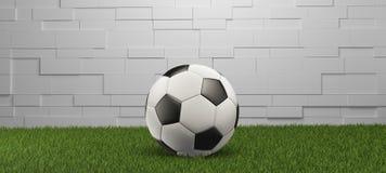 Piłki nożnej piłka na trawy ściany panoramy białym tle 3d-illustration royalty ilustracja