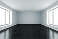pièce 3d avec les murs blancs et l'étage noir Images stock