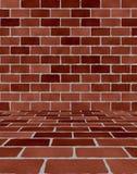 Pièce avec des briques Photos libres de droits