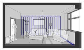 Pièce avec des meubles refroidis avec le refroidissement de mur illustration de vecteur