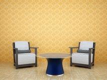 Pièce avec deux présidences et une table Image stock