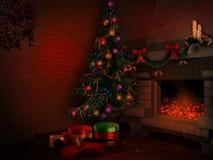 Pièce avec l'arbre de Noël illustration de vecteur