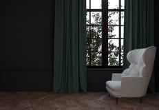 Pièce avec la chaise et les rideaux Images libres de droits