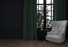 Pièce avec la chaise et les rideaux Photo stock