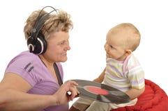 Pièce avec la grand-maman du DJ Photographie stock