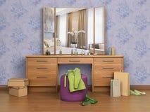 Pièce avec le miroir de console, illustration stock