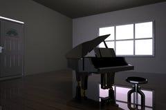 Pièce avec le piano et la fenêtre noirs Photos stock