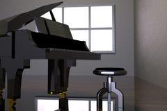 Pièce avec le piano et la fenêtre noirs Photographie stock
