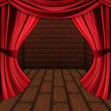 Pièce avec les rideaux rouges Photo libre de droits