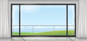 Pièce avec une fenêtre énorme illustration libre de droits