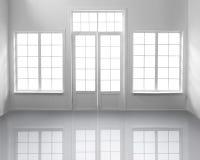 Pièce blanche avec des fenêtres Images libres de droits