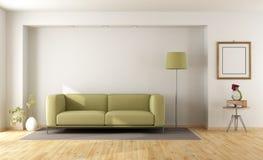 Pièce blanche avec le sofa vert illustration stock