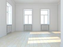 Pièce blanche classique vide avec des fenêtres Photo libre de droits