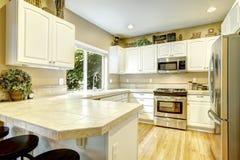Pièce blanche de cuisine avec la fenêtre Photographie stock libre de droits