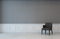 Pièce blanche et grise de mur avec le fauteuil photographie stock