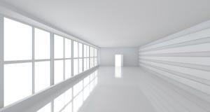 Pièce blanche légère avec la grande fenêtre Photographie stock