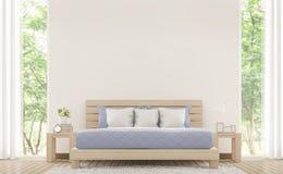 Pièce blanche moderne de lit avec l'image en pastel de rendu des meubles 3d Photo libre de droits