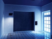 Pièce bleue avec les deux lampes Photographie stock libre de droits