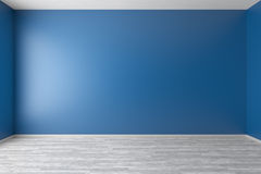 Pièce bleue vide avec le plancher de parquet blanc Photographie stock