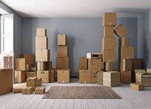 Pièce complètement des boîtes en carton Image stock