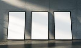 Pièce concrète de galerie, moquerie d'affiche de trois isolats  illustration stock