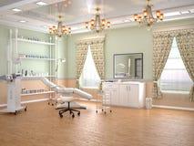 Pièce confortable avec l'équipement dans la clinique de la dermatologie et de la cosmétologie illustration libre de droits