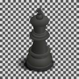 Pièce d'échecs noire de roi isométrique, illustration de vecteur illustration stock